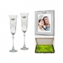 Copas Champán Fuchsia con Portafoto para boda