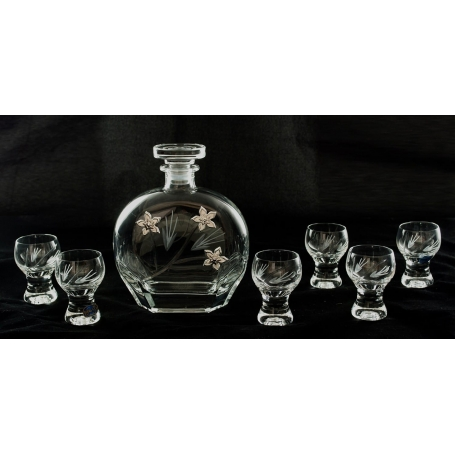 Liquor set. Puccini bottle with Gina shot glass (Petals)
