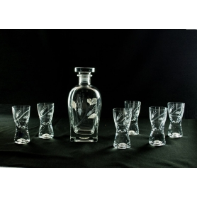 Liquor set. Rossini bottle and Samba shot glass (Petals)