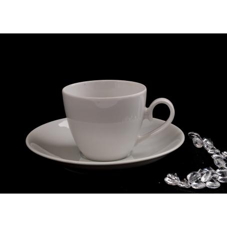 Pocillo y plato café Volare col. Blanca
