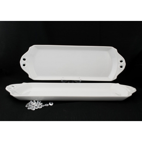 Long dessert tray White/Blue. White collection.