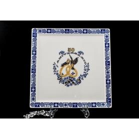 Porcelain tray for Golden anniversary gift. Marcador design, Celta collection.