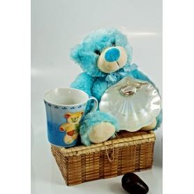 Cofre Infantil azul. Taza, osito y concha de nácar