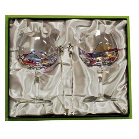 Gin and Tonic Milano set. Two glasses with stirrers.