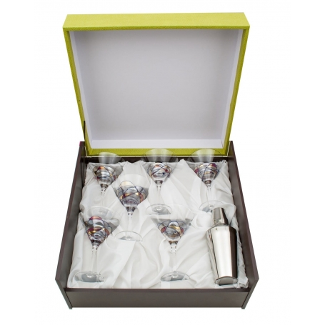 Six-glass and cocktail shaker Martini set. Red Milano design.