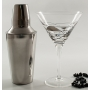 Six-glass and cocktail shaker Martini set. Black/Silver Milano design.