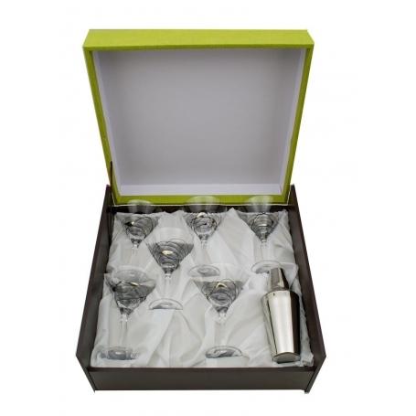 Juego de Martini Milano negro/plata. Seis copas y coctelera