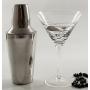 Juego de Martini Mil negro/plata. Dos copas más coctelera.