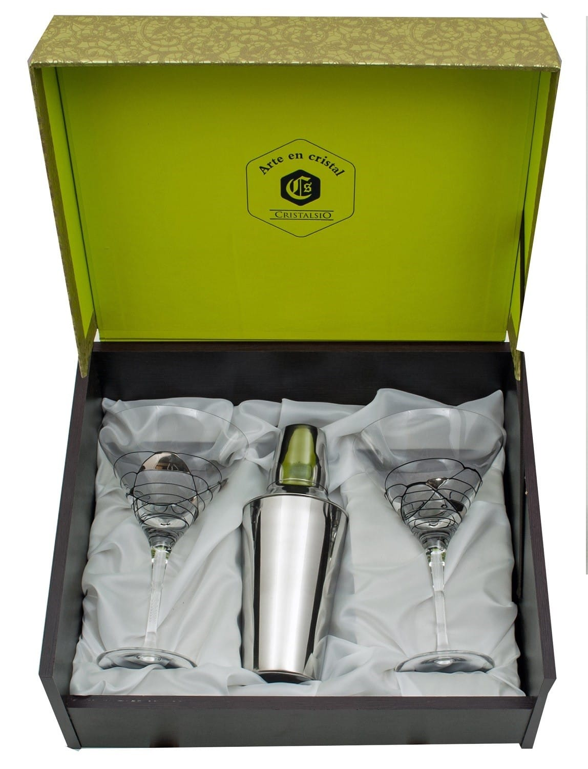 Juego copas coctelera Martini Milano negro/plata