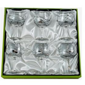 Juego de seis copas de Gin Tonic Milano Negro/Plata