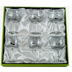 Six-glass Gin and Tonic set. Black/Silver Milano