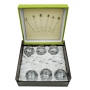 Gin and Tonic Black/Silver Milano set. Six glasses and stirrers.