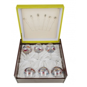 Gin and Tonic Red Milano set. Six glasses and stirrers.