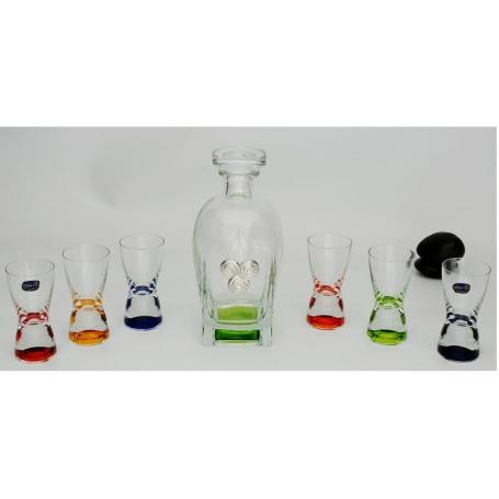 Coloured liquor set. Rossini bottle and six shot glasses