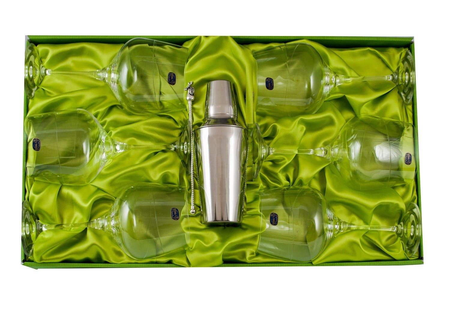 Juego de Gin-tonic de 6 copas Rebeca (talla 203) con coctelera y removedor