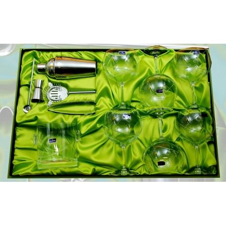 Set de Gin-tonic. Seis copas y cubo (talla E5) y set de coctelería