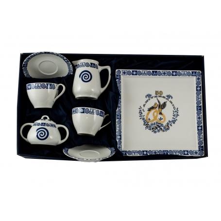 Set de desayuno Volare, regalo Aniversario: 2 tazas, azucarero, lechera y bandeja col. Celta