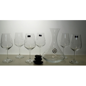 Bohemia Ultima wine set. Six glasses and decanter (E5 engraving)