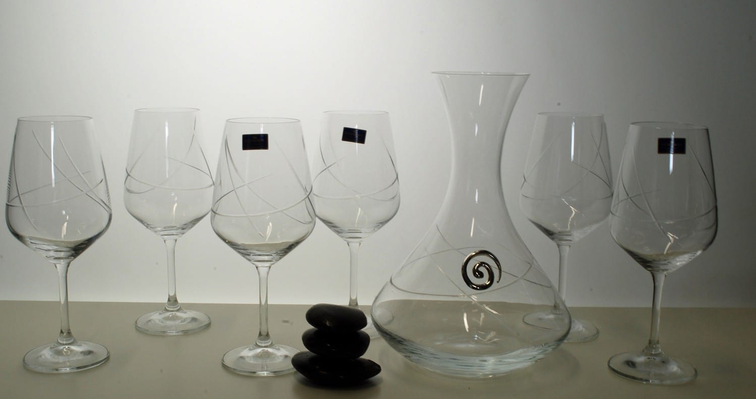 Bohemia Ultima wine set. Six glasses and decanter (E5 engraving)