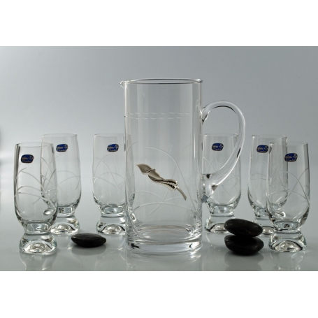 Bohemian Gina refreshment set. Six glasses and pitcher.