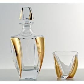 Neptune Gold Bohemian glass whisky set