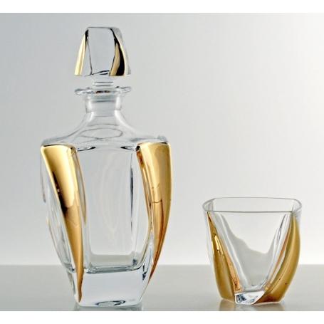 Neptune Gold whisky set. Bohemian glass