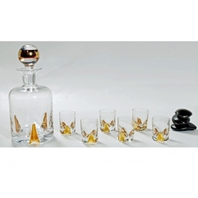 Bohemian glass Suerte Gold liquor set