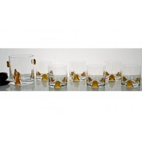 Bohemian glass whisky set. Suerte/trio Gold. Six-glass and bucket.