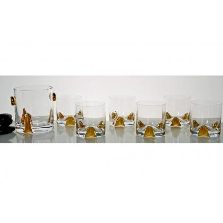 Juego de whisky Bohemia Suerte/trio Oro. Cubo y seis vasos.