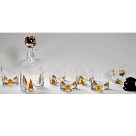 Suerte Gold whisky set. Bohemian glass