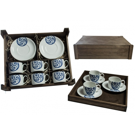 Juego de té Pombal 6 pz. en caja de madera col. Lúa