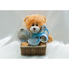 Children's basket. Mug, pacifier, teddy bear and nacre shell