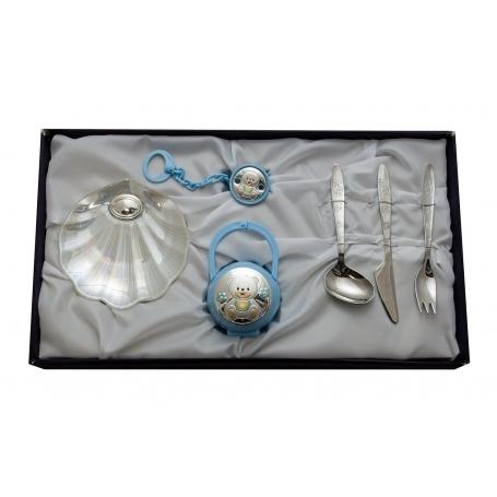 Set para regalo de bautismo. Chupete, cubiertos y concha de nácar