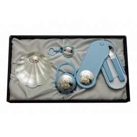 Baptism gift set. Pacifier, baby food set and nacre shell