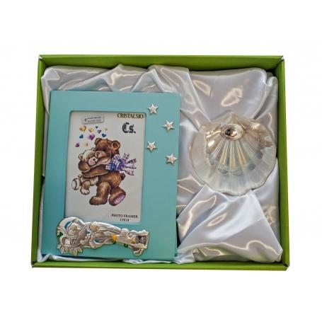 Set para regalo de bautismo. Portafotos de azul y concha de nácar
