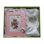 Set para regalo de bautismo. Portafotos de rosa y concha de nácar