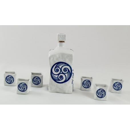 Seven-piece liquor set. Piedra design. Lua Collection