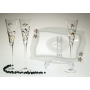 Milano Black and Gold flutes and Patisserie tray for wedding or anniversary gift