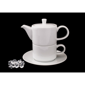 Tetera, taza y plato recta col. Blanca