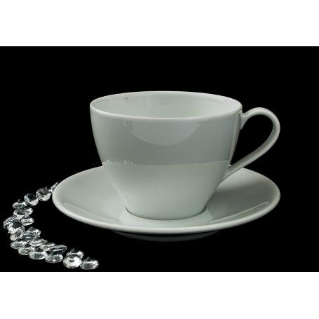 Taza y plato de desayuno Volare col. Blanca