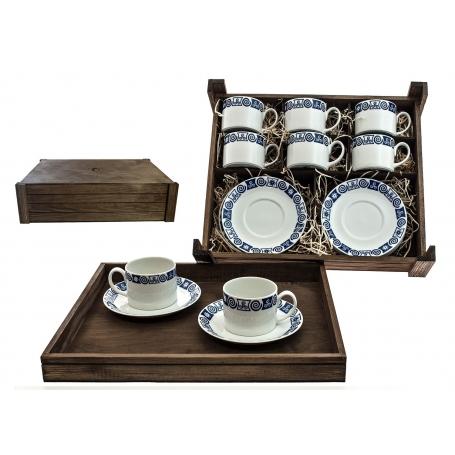 Juego de té Pombal 6 pz. en caja de madera col. Celta