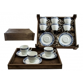 Six-Piece Coffee set in wooden box. Volare desing, Celta collection