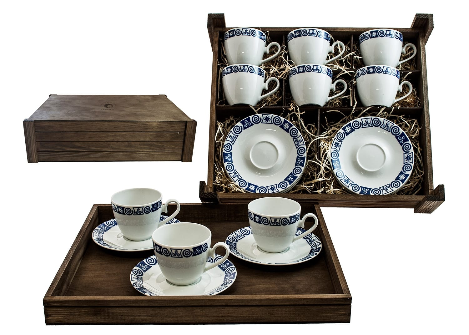 Six-Piece Tea set in wooden box. Volare desing, Celta collection
