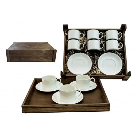 Juego de té Pombal 6 pz. en caja de madera col. Blanca