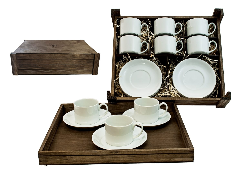 Juego de té Pombal 6 piezas en caja de madera col. Blanca