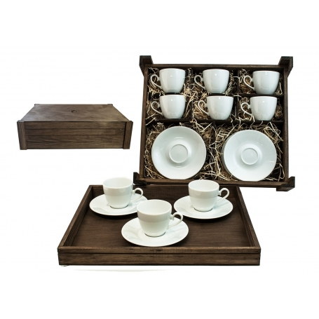 Six-Piece Coffee set in wooden box. Volare desing, White collection