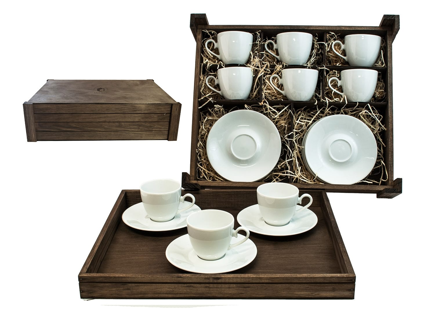 Six-Piece Tea set in wooden box. Volare desing, White collection