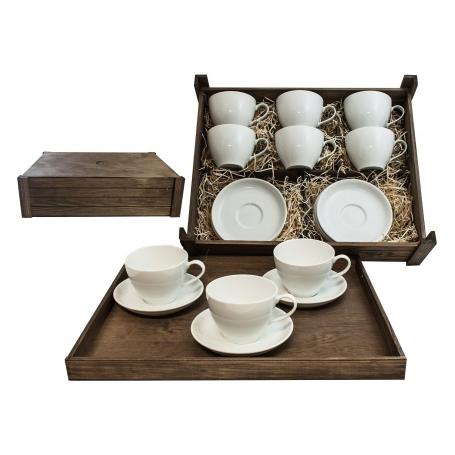 Juego de desayuno Volare 6 piezas en caja de madera col. Blanca