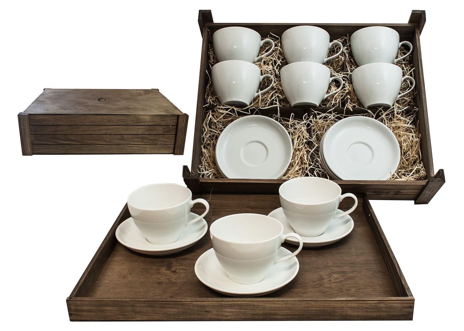 Six-mug breakfast set in wooden box. Volare Desing, White Collection