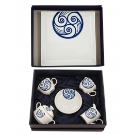 Four-piece tea set Moments and Marcador tray. Lua collection
